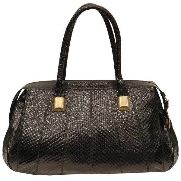 Judith Leiber Black Snake Skin Bag W/ Gold Detail