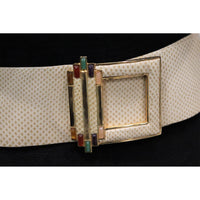Judith Leiber Cream Belt W/ Signature Jewels On Gold Buckle