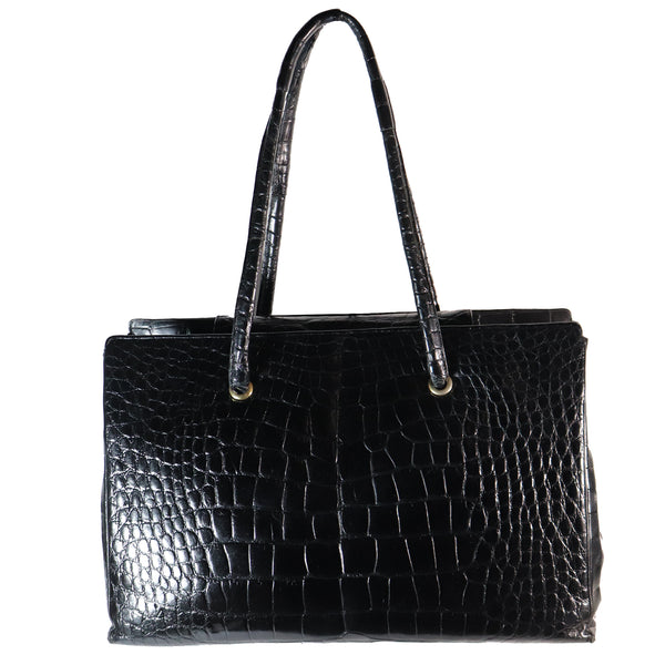 Judith Leiber Large Black Crocodile Purse with Snap Top