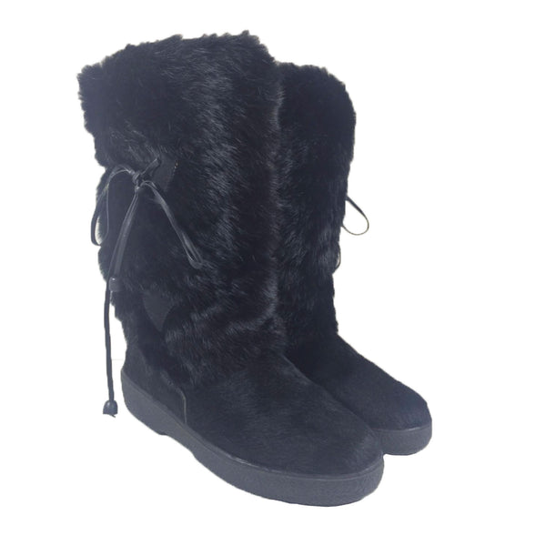 KRISTINA Black Fur Boots with Rubber Sole and Leather Ties Size 7 1/2