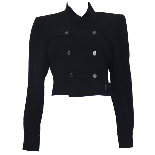 Karl Lagerfeld Navy Wool Jacket w/ Side Belt Circa 1990s