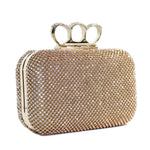 Elizabeth Mason Couture Gold Rhinestone Knuckle Clutch with Long Gold Chain