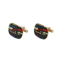 VINTAGE Large Enamel Abstract Patterned Silver with a Gold Vermeil Cufflinks. Curved rectangular gold tone gold vermeil over Silver cufflinks Black, white, red and blue patternMade in France Unknown designer Measurements: Width: 1 in. Length 1 in.
