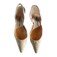 MANOLO BLAHNIK Classic Nude Leather Point Toe Slingback Heels Size 37 1/2