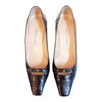 "MANOLO BLAHNIK Cut out Buckle Vamp Black Crocodile 2"" Heels Size 8"