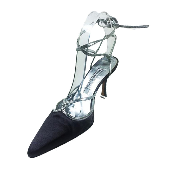 MANOLO BLAHNIK Gunmetal Satin and Metallic Silver Strappy Stilettos Size 37 1/2