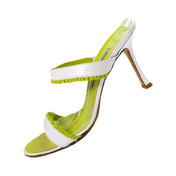 MANOLO BLAHNIK Lime Green and White Leather Mule Stiletto Size 38 1/2