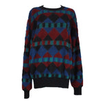 MISSONI Men's Circa 1990s Blue & Red Geometric Sweater
