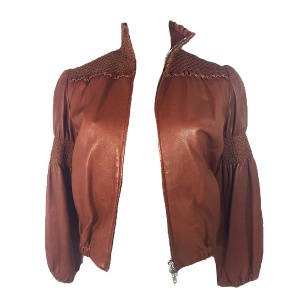 MIU MIU Tan Leather Smocked Detail Zip Front Leather Jacket Size 2-4