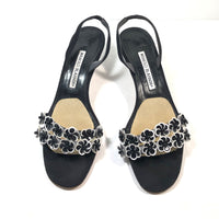 MANOLO BLAHNIK Black and White Sequined Floral Toe Strap Slingback Heels  Size 38 1/2   Summer Sandal Heels