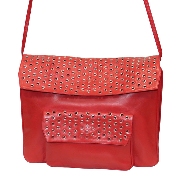 Maud Frizon Red Leather Bag W/ Grommets on Pocket