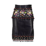 MOSCHINO 1990s Black Leather Skirt w/ Tassels, Studs and Flowers
