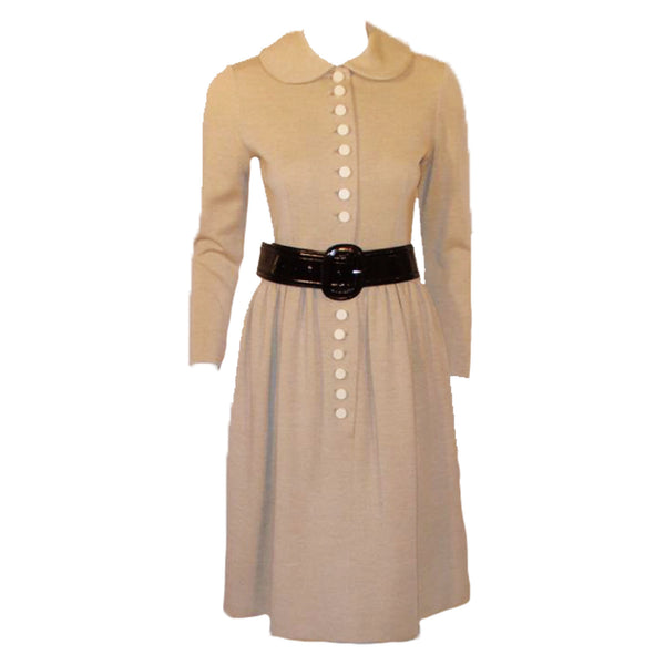 NORMAN NORELL 1950s Oatmeal Wool Dress with Cream Buttons