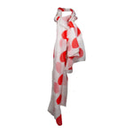 NORMAN NORELL 1960S White Silk Chiffon Orange Polka Dot Mod Madmen Scarf Wrap