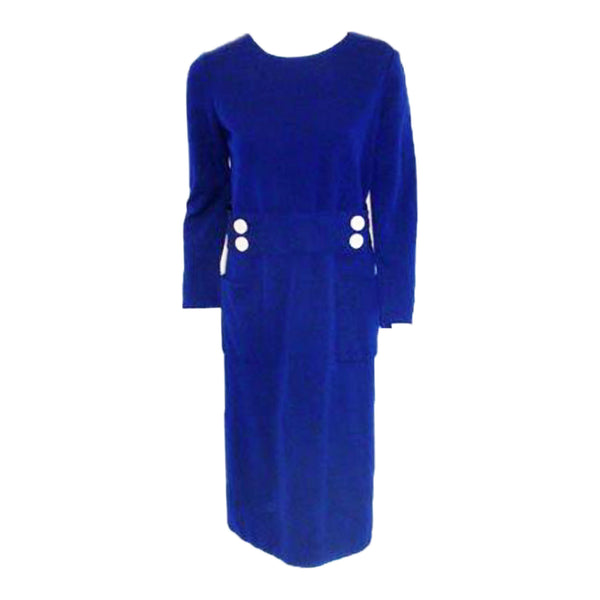 NORMAN NORELL 1960s Blue Wool w/ Belt & Button Day Dress