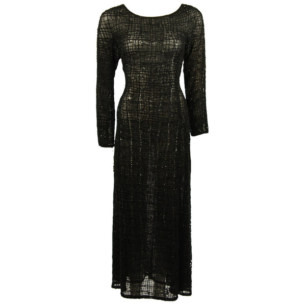 GIORGIO ARMANI Geometric Pattern Black Beaded Gown Size 44