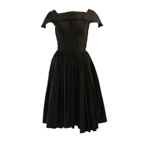 JAMES GALANOS Circa 1950s Black Boat Neck Cocktail Dress