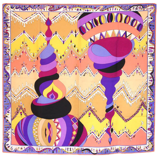 EMILIO PUCCI Silk Orange Cream Psychedelic Print Scarf