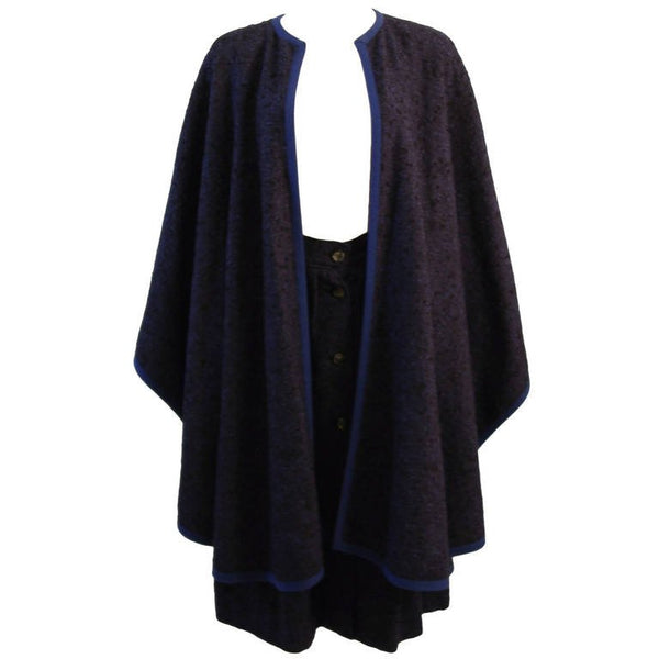 YVES SAINT LAURENT Blue Wool Skirt and Cape Ensemble Size 40