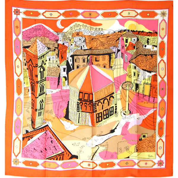 EMILIO PUCCI 1960s Orange Silk Abstract Florentine Pallazzo Print