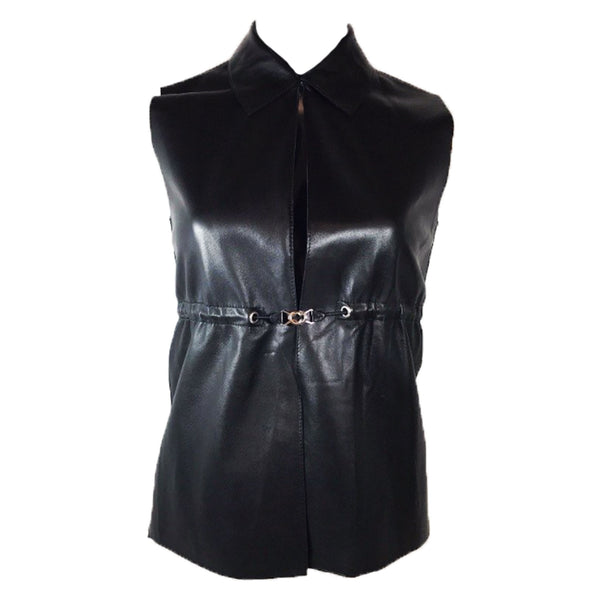 PRADA Black Leather Vest w/Clasping Waist Belt Size 40