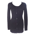 PRADA Lace Trim Neck Charcoal Knit Button Up Cardigan Size 40