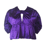 PRADA Purple Satin Bow Back Zip Evening Blouse Size 40