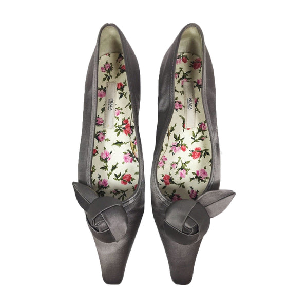 PRADA Silver Satin Pointed Toe Flats w/ Floral Lining Size 36