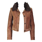 RALPH LAUREN Sheared Chevron Cowhide Jacket Size 2