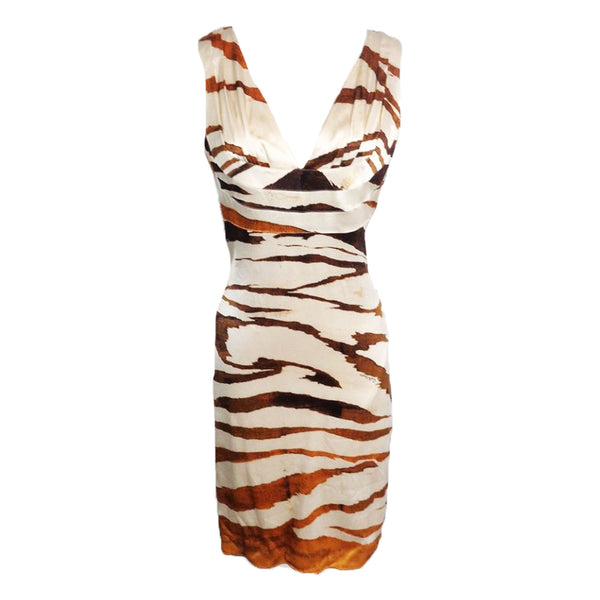 ROBERTO CAVALLI Tiger Print Silk Deep V-Neck Dress 42