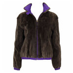 RALPH LAUREN Espresso Mink & Purple Reversible Bomber Jacket