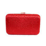 Elizabeth Mason Couture 'Small' Red Rhinestone Jewel Evening Clutch with Long Chain