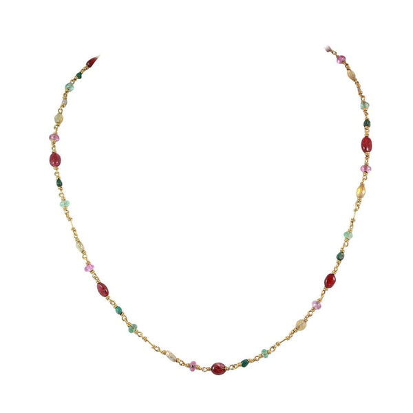 "Reinstein Ross, Isabella Necklace 20K Gold with Rubies, Emerald and Tourmalines. 'Isabella' Necklace by Reinstein Ross 20K Gold with Ruby and Emerald cabochons, seed pearls, as well as faceted pink, green and yellow Tourmalines. Signature curved hook closure. 20"" in length.Small pendant engraved designer signature at clasp Designed by Reinstein Ross, Circa 1990."