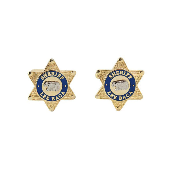 SHERIFF LEE BACA Circa 1990s Gold Tone Metal Star Cufflinks. Gold tone metal star-shaped cufflinksSheriff Lee Baca Gold bear design Unknown designerSheriff Lee Baca was the acting Sheriff in Los Angeles between being sworn in in 1998 and 2016 Measurements: Width: .75 in. Length: 1 in.