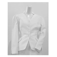 THIERRY MUGLER White Textured Cotton Skirt Suit Size 42. This Thierry Mugler skirt suit is composed of a white textured cotton fabric. Features a classic Mugler silhouette with nipped waist and curved bust-line to neckline design. The jacket has front snap closures, rounded shoulders, and a gathered panel detail at the back. The classic pencil style skirt features a zipper closure. In good vintage pre-owned condition. Made in France.Measurements in Inches:JacketBust: 42 Waist: 30 SkirtWaist: 28Hip: 38Length