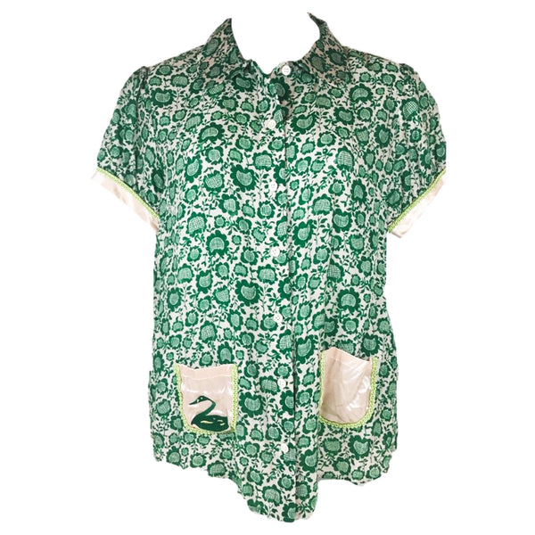 TSUMORI CHISATO Green Blouse w/ Silk Pockets & Trim Size 3