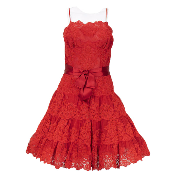 VICKY TIEL 1990s Couture Red Lace Cocktail Dress