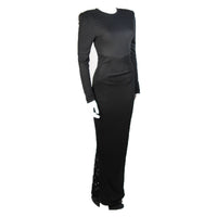 VICKY TIEL Black Jersey Gown with Sequin Lace Accents Size Small