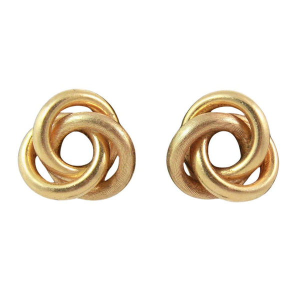 VINTAGE 18K Gold Italian Knot Earrings. 18K Gold Italian KNOT Earrings14K Gold earring backingsItalianUnknown designer Measurements: Width: .5 in. Length: .5 in.