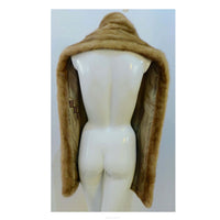 VINTAGE Custom Honey Blonde Mink Wrap. This real mink fur wrap is in great condition. It has a taupe satin lining and appliquéd monogram patches. Measurements in Inches:Width: 11.5Length: 72