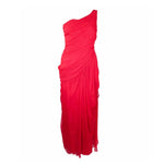 VALENTINO Red One Shoulder Silk Chiffon Evening Gown