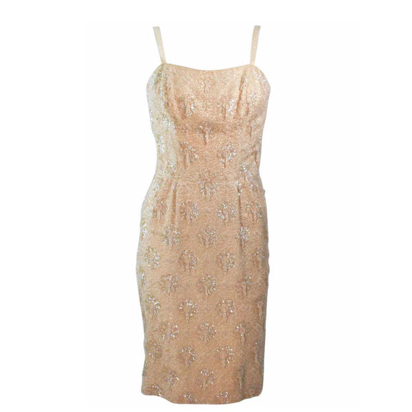 VINTAGE Circa 1960s Silk Beaded Cocktail Dress