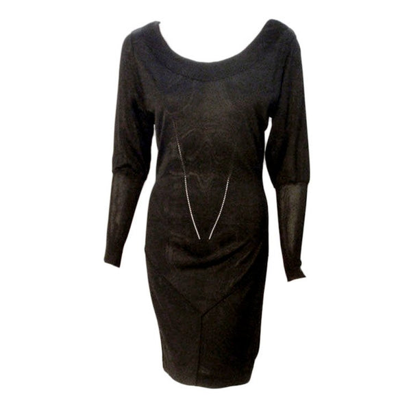 "ALAÏA 1990s Black Sheer Jersey Long Sleeve Scoop Neck Dress. This is a sheer black Rayon jersey knit long sleeve dress by Alaia, from the 1990's. The dress has scoop neckline and trumpet sleeves. Size Large Length: 38"" Sleeve: 25"" Bust: 34-36"" Waist: 25-27"" Hip: 33-36"""
