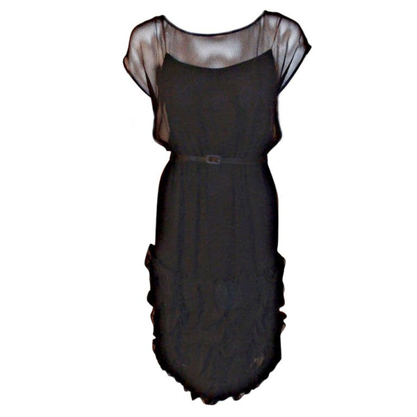 JAMES GALANOS 1960s Black Chiffon Cocktail Dress with Ruffles