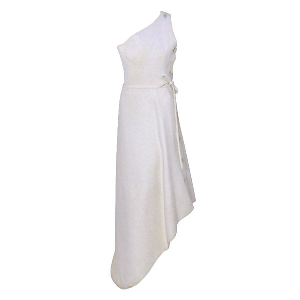 GIVENCHY Circa 1970s White One Shoulder Gown