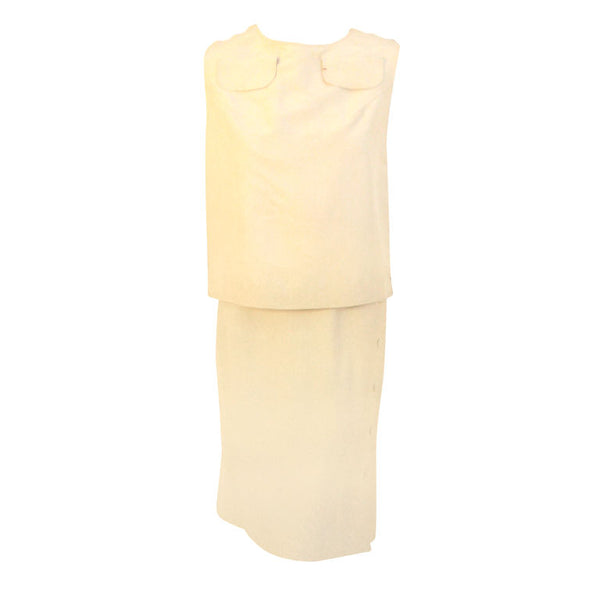 MADAME GRES 1960s 2 pc Cream Top and Skirt Set