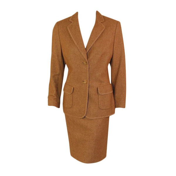 RENA LANGE 1990s 2 pc Tan Skirt Suit with Poodle Print Lining