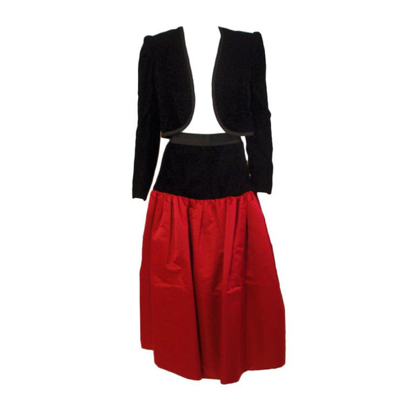 ADOLFO 1980s 2 pc Red Satin Skirt and Black Velvet Jacket