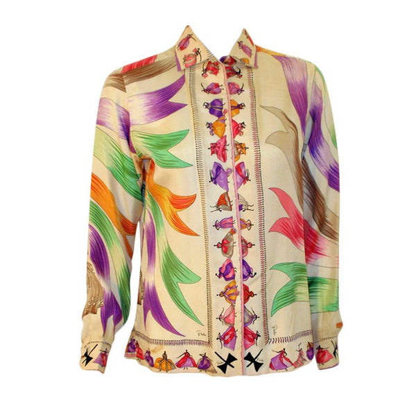 EMILIO PUCCI 1960s Silk Blouse Ladies & Ribbon Print