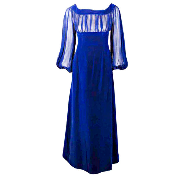 GIVENCHY Blue Velvet Off Shoulder Gown w/ Chiffon Sleeves